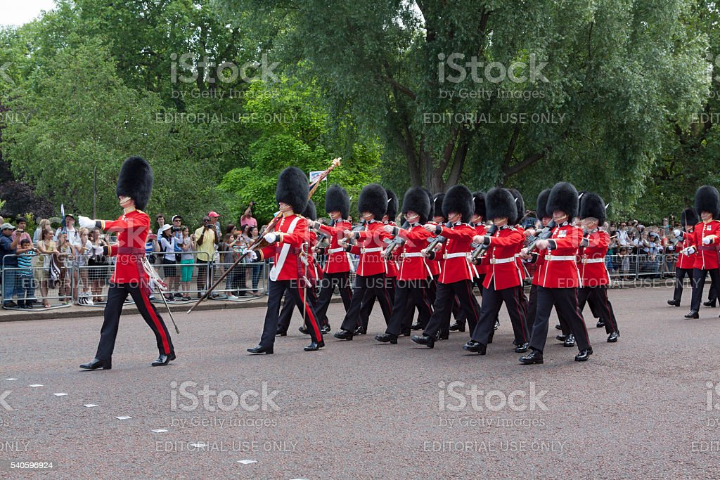 Changing the Guard at Buckingham Palace, London, England. stock photo