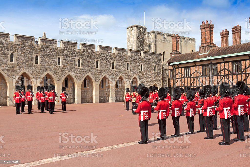 Changing the Guard at Windsor Castle, Berkshire, England. stock photo