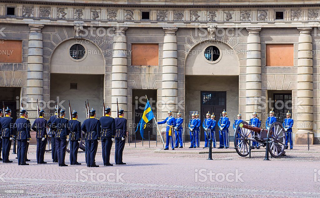 Changing the guard of honour. Stockholm. Sweden stock photo
