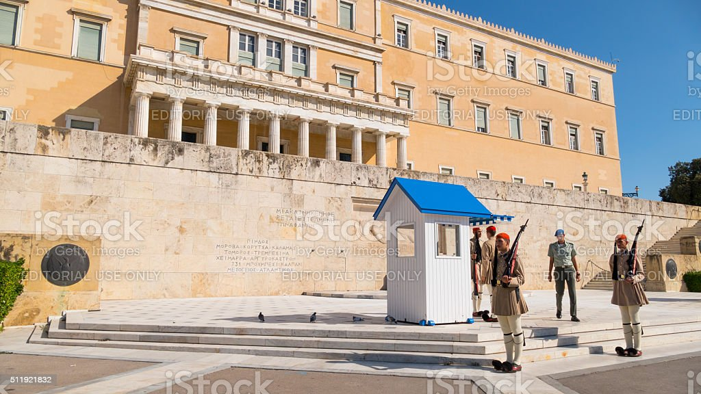 Changing the honor guard in front Parliament of Athens stock photo
