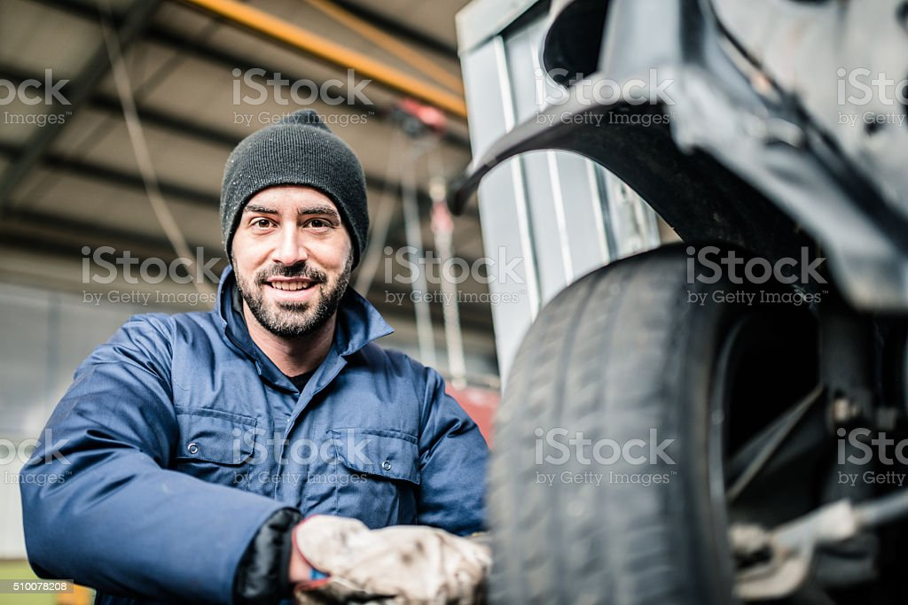 changing the tire stock photo