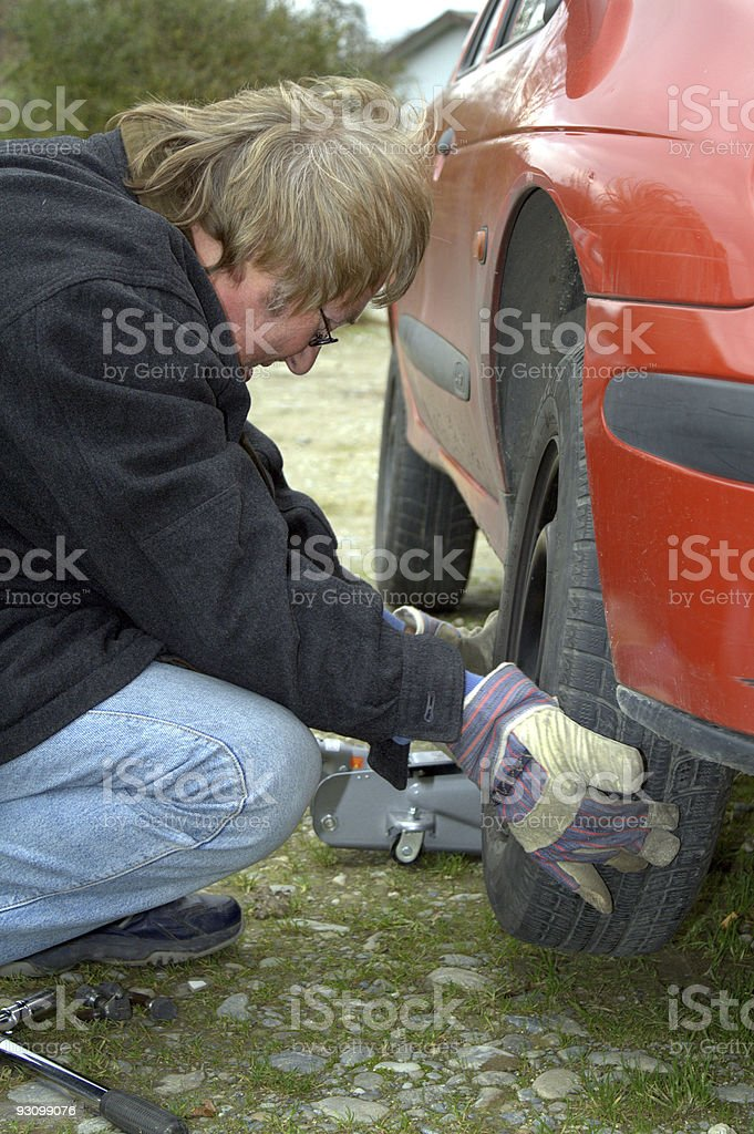 Changing Tire II stock photo