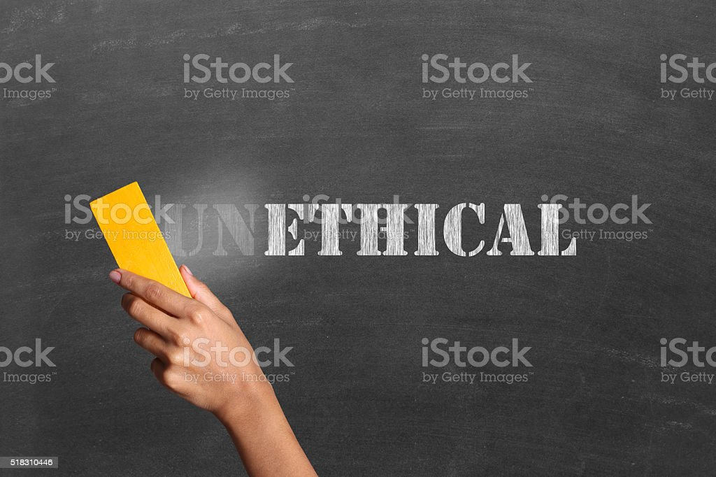 Changing unethical to ethical stock photo