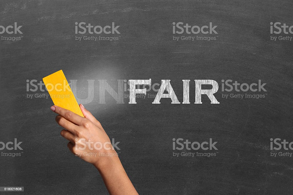 Changing unfair to fair stock photo