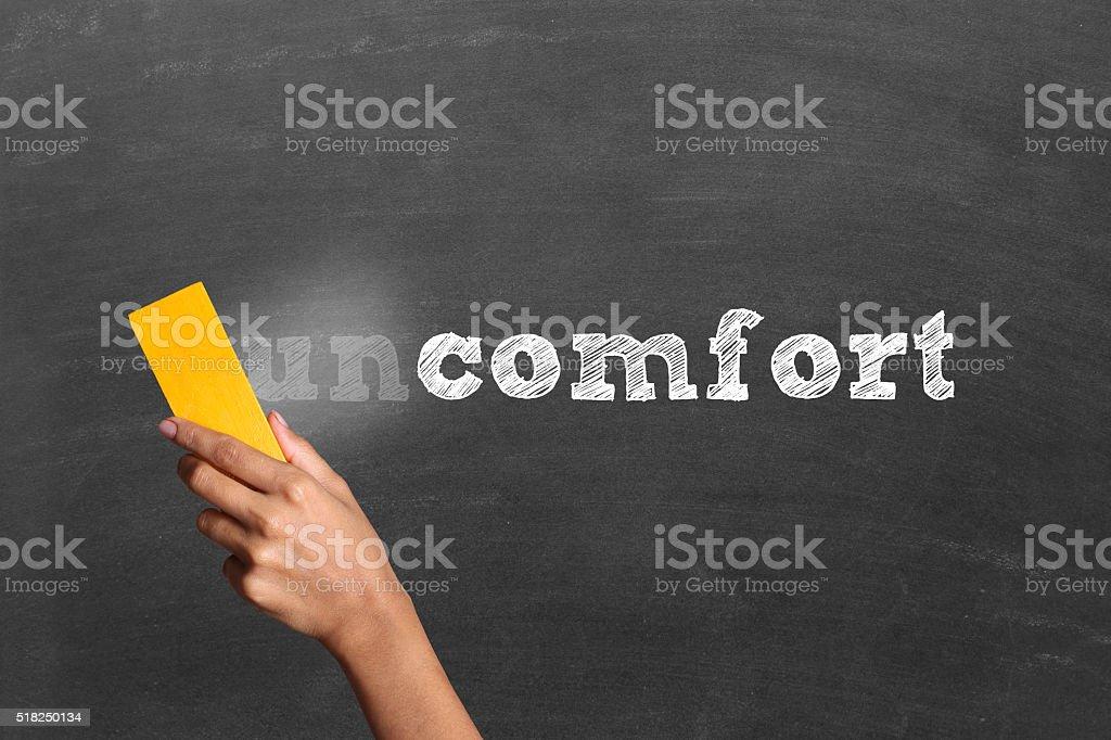 Changing word uncomfort into comfort stock photo