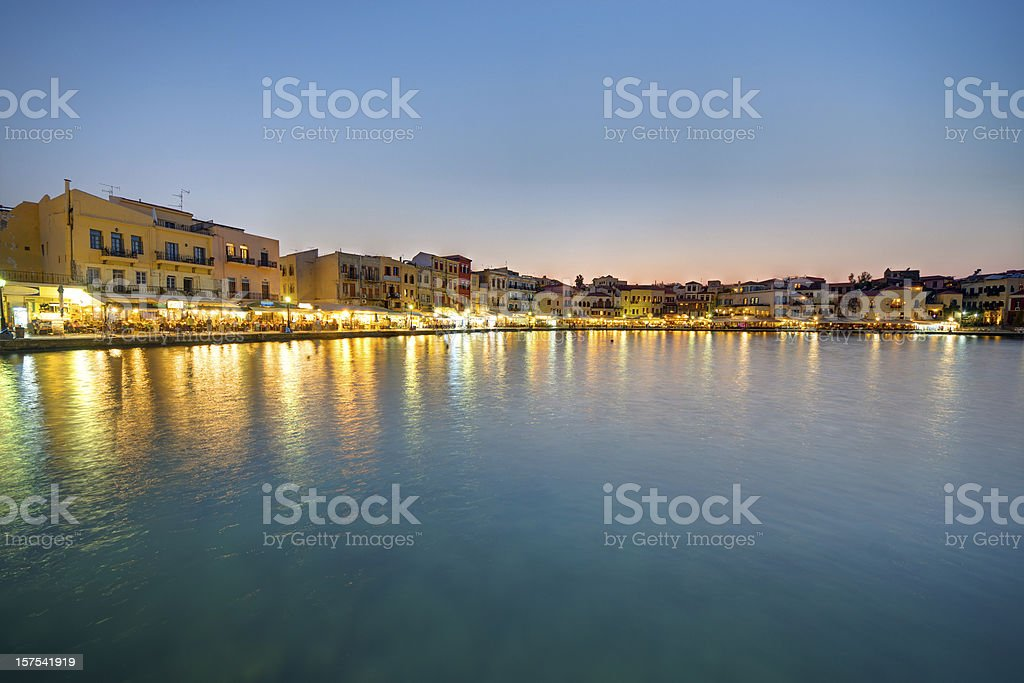 Chania after sunset royalty-free stock photo
