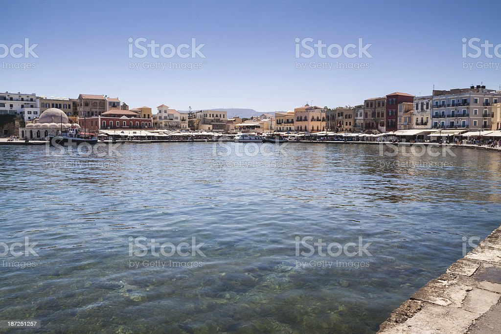 Chania harbor promenade panorama. Crete, Greece. royalty-free stock photo