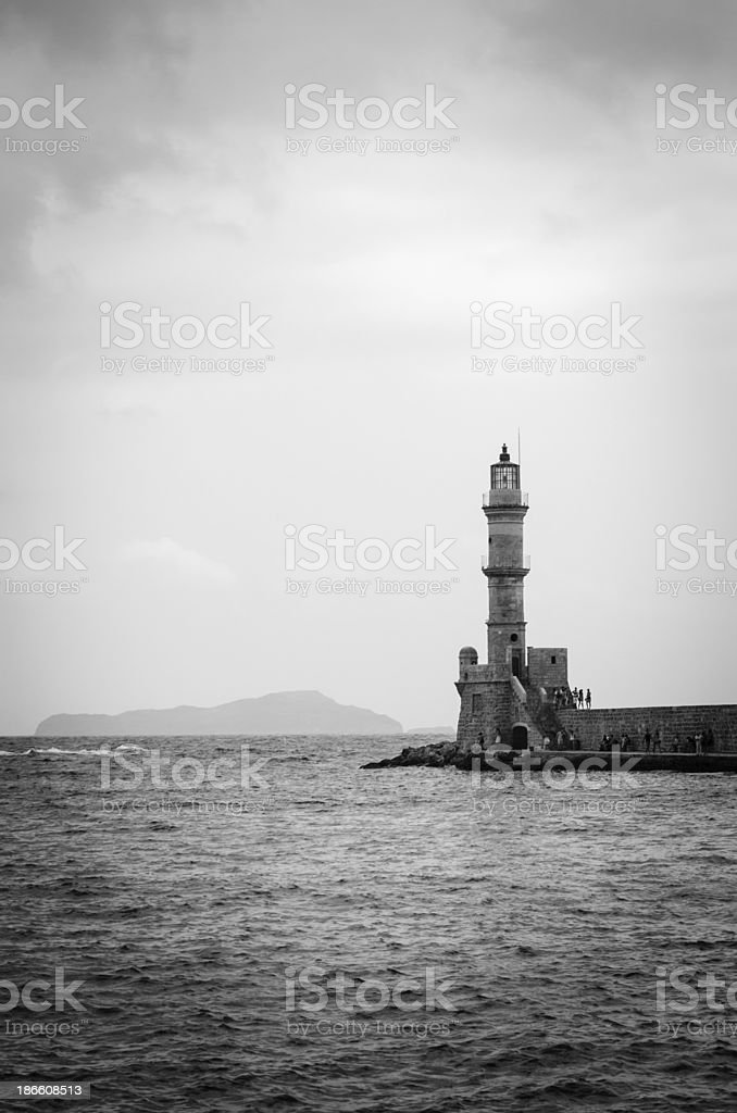 Chania lighthouse, Crete Island royalty-free stock photo