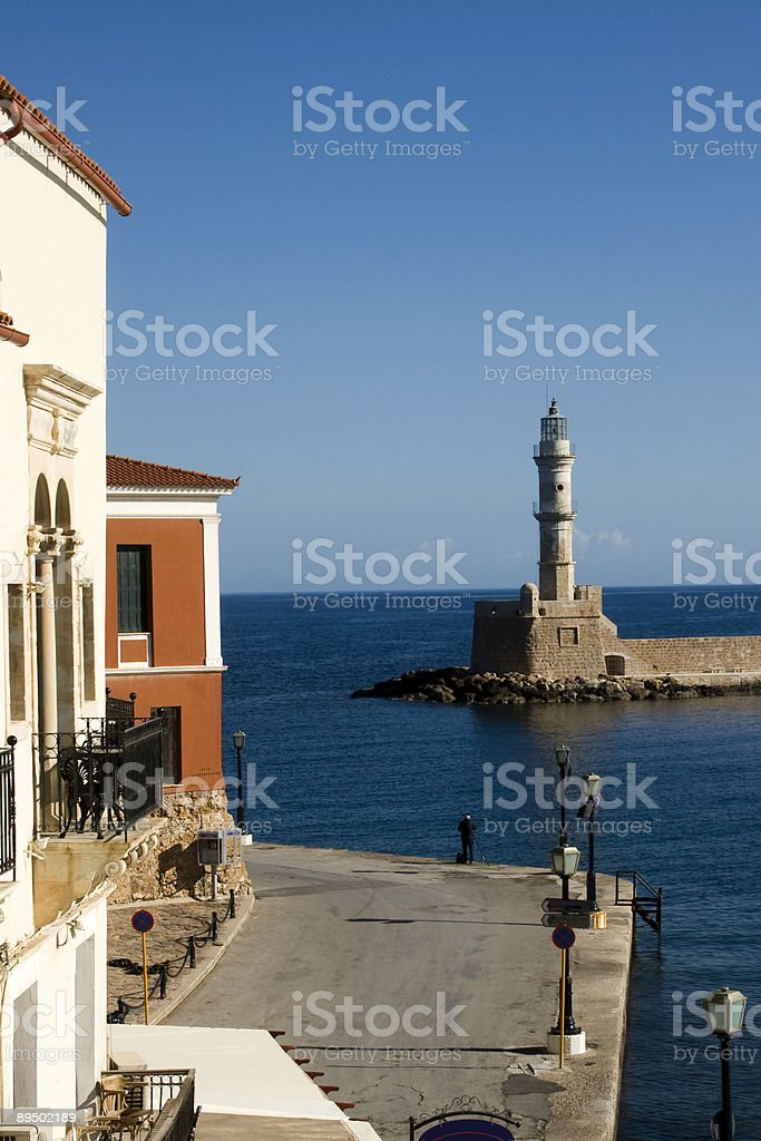 Chania - Lighthouse in old port, Crete royalty-free stock photo