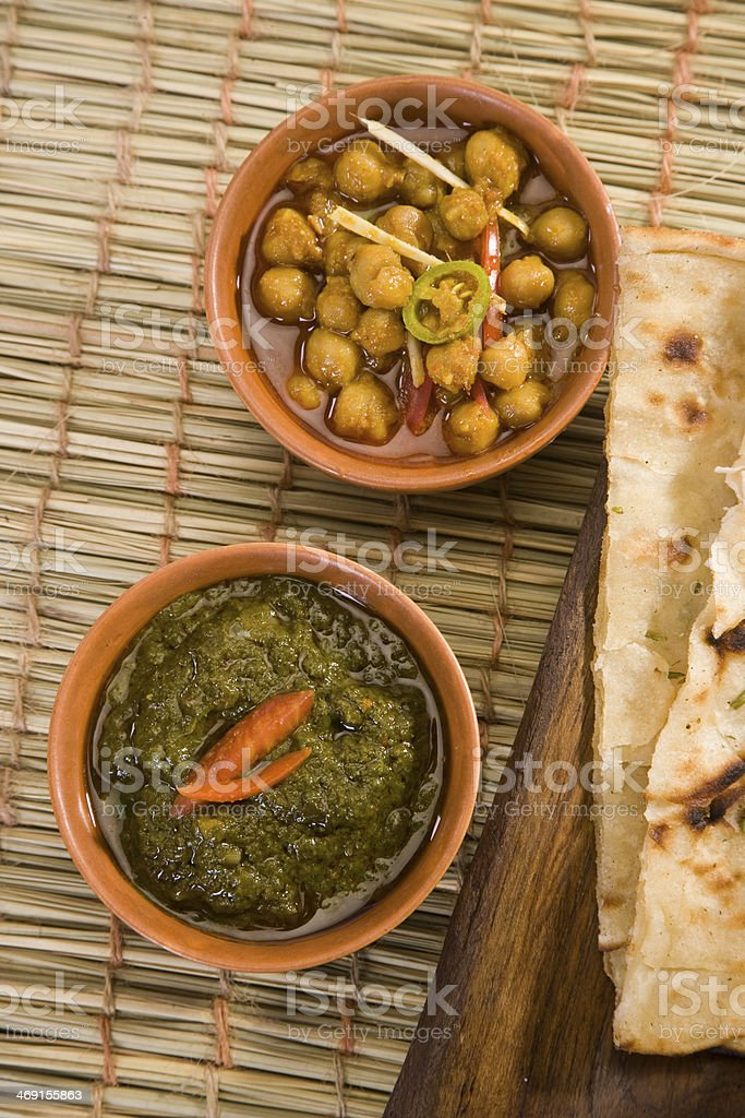 Channa and Saag stock photo