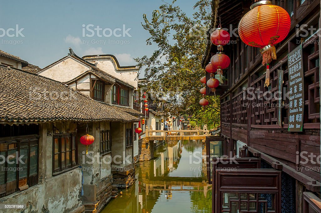 Channel at Zhouzhuang stock photo