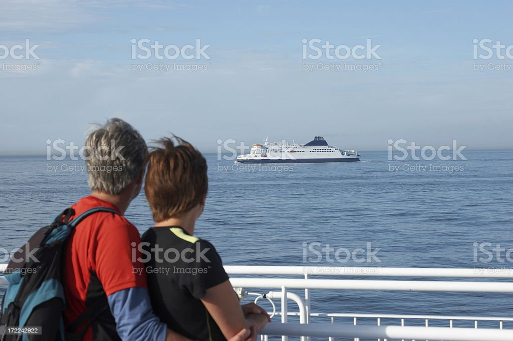 Channel crossing ferries couple to left royalty-free stock photo
