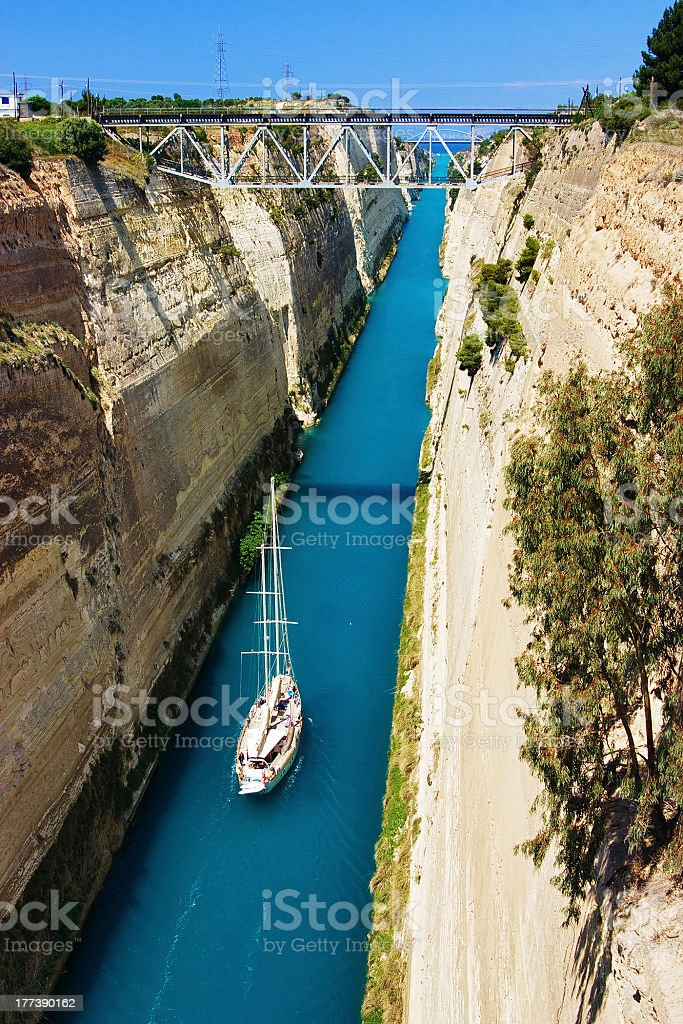 Channel in Corinth, Greece stock photo