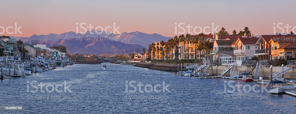 Channel Islands Harbor at Sunset stock photo