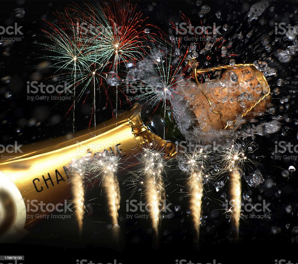 Chanpagne and fireworks party stock photo