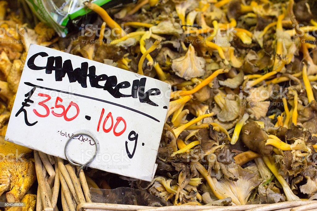 Chanterelle Mushrooms in Borough Market, London stock photo