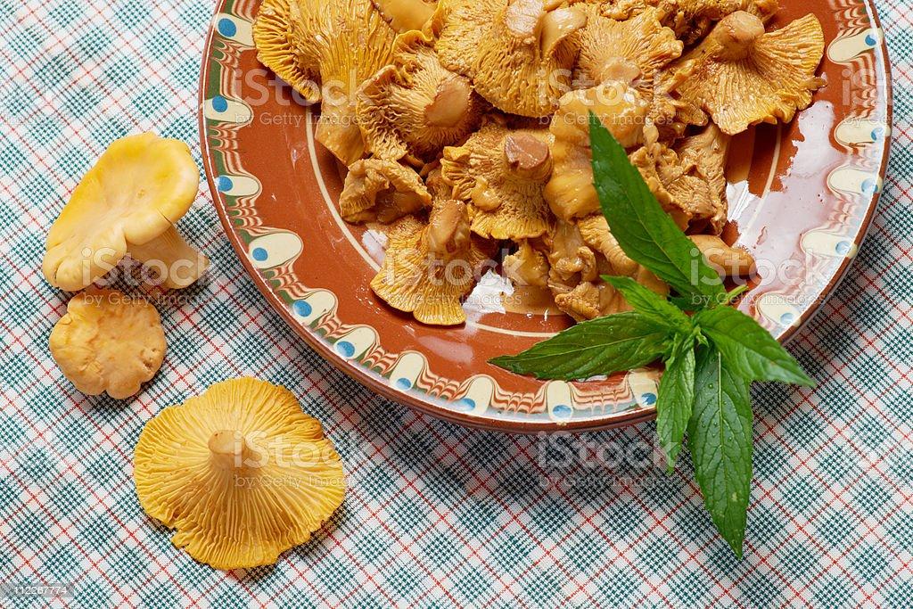 Chanterelle mushrooms salad stock photo