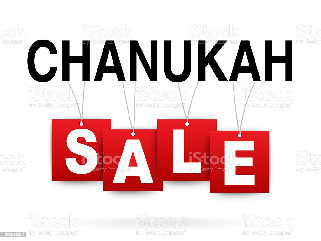 Chanukah sale on white stock photo