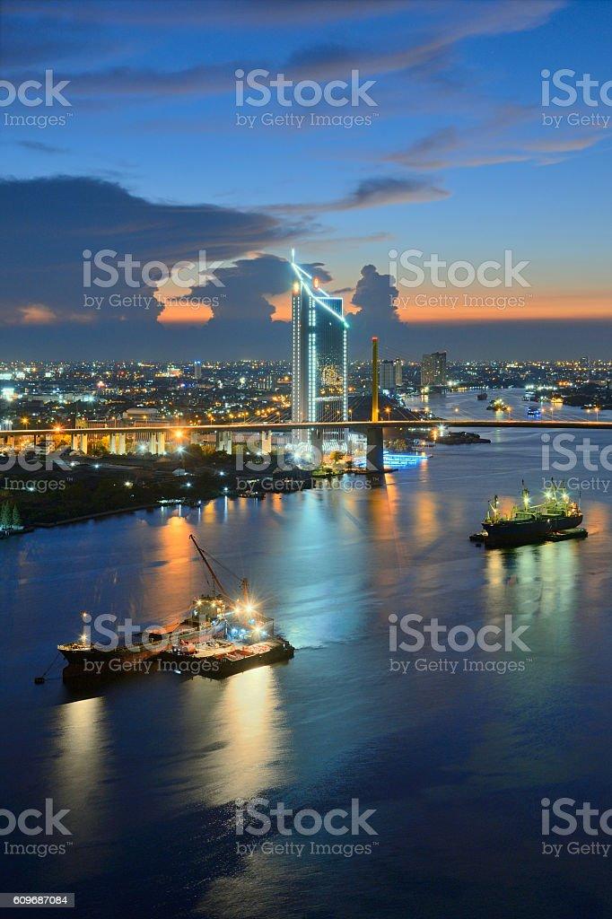 Chao Phraya Nightfall stock photo