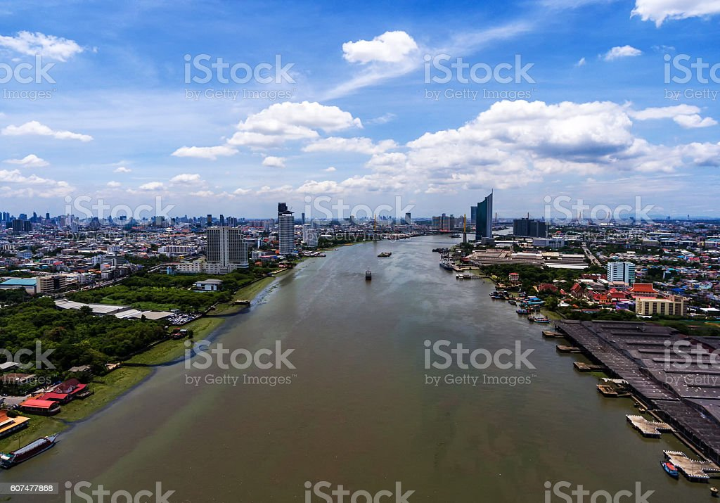 Chao Phraya River and the city in Bangkok,Thailand. stock photo