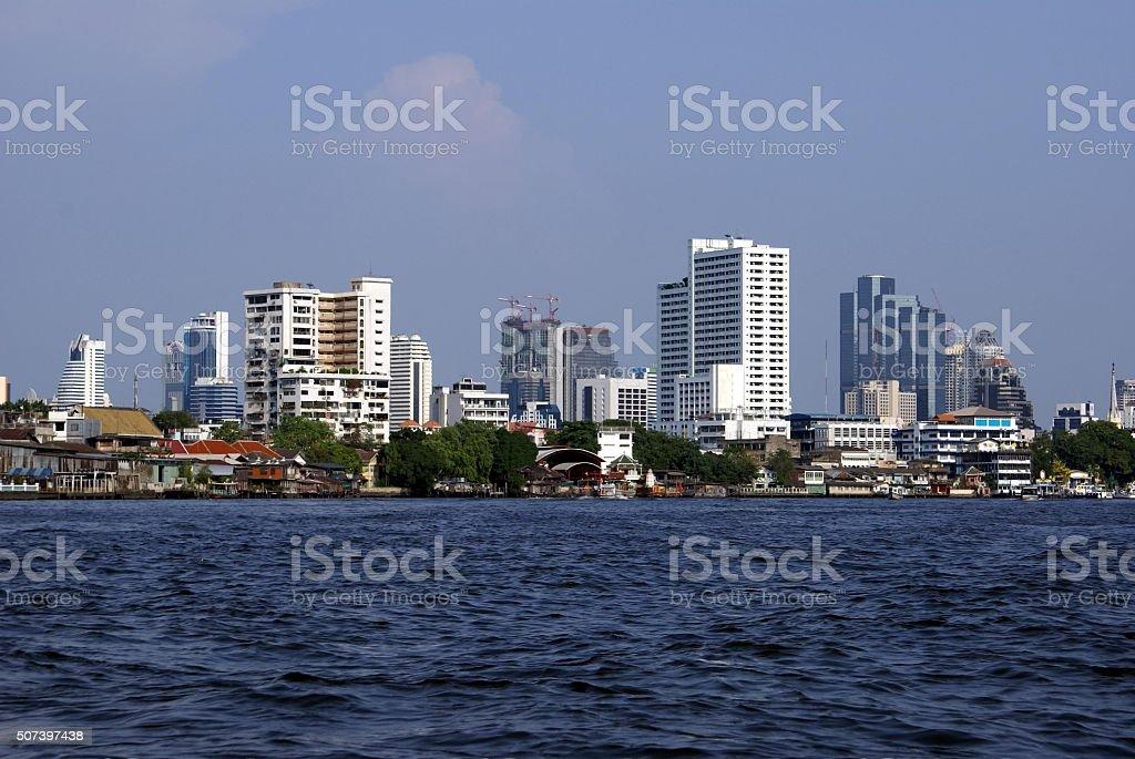 Chao Phraya River Bank, Bangkok city Thailand Asia stock photo
