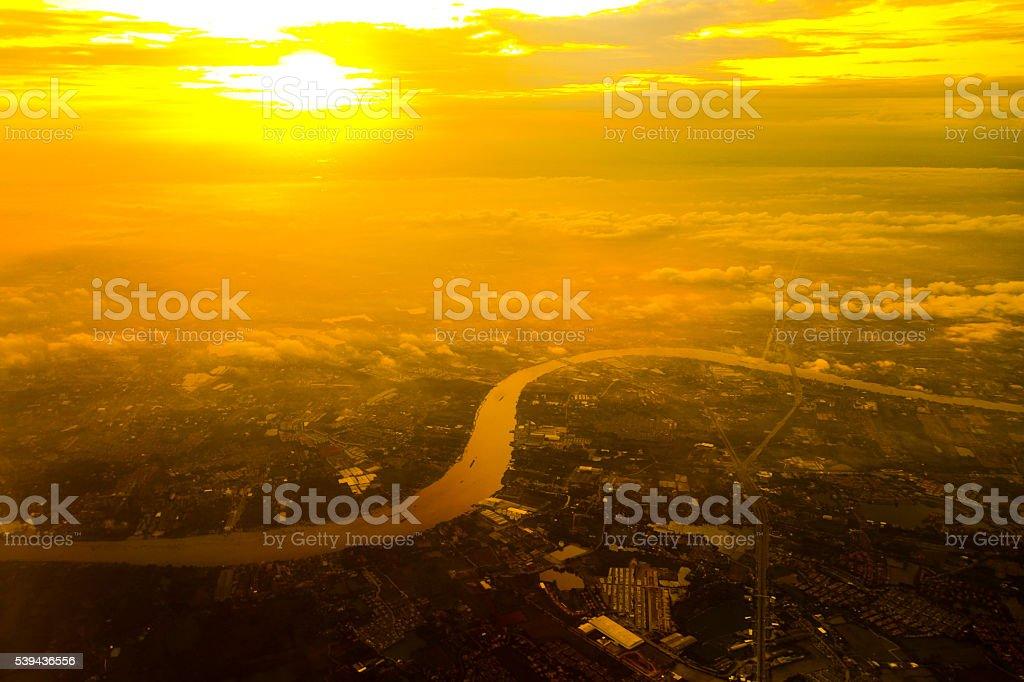 Chao Phraya River bird eye view during the sunset,THAILAND stock photo