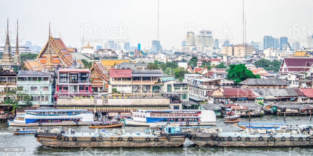 Chao Phraya River in Bangkokg, Thailand stock photo