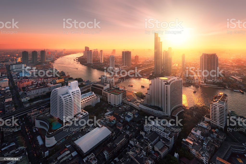 Chao Phraya River sunlight bangkok city stock photo