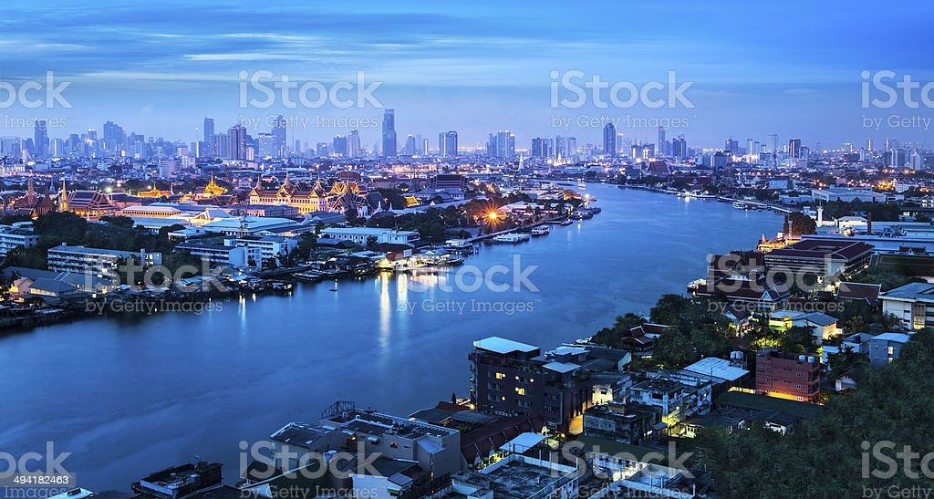 Chao Phraya River with Grand Palace, Bangkok,Thailand. royalty-free stock photo