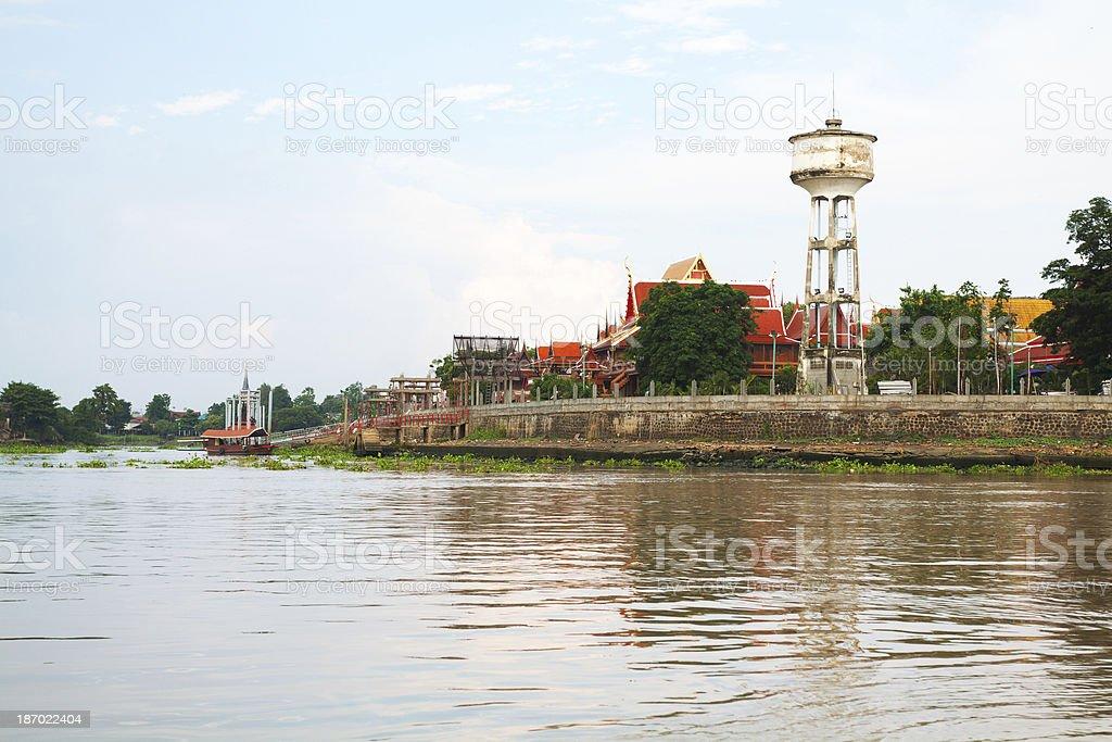 Chao Praya and Wat Phanan Choeng royalty-free stock photo