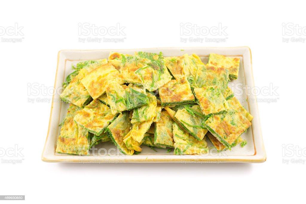 Cha-om omelette stock photo