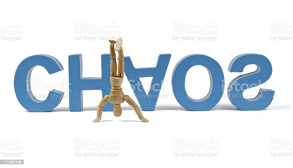 Chaos - Wooden Mannequin demonstrating this word stock photo