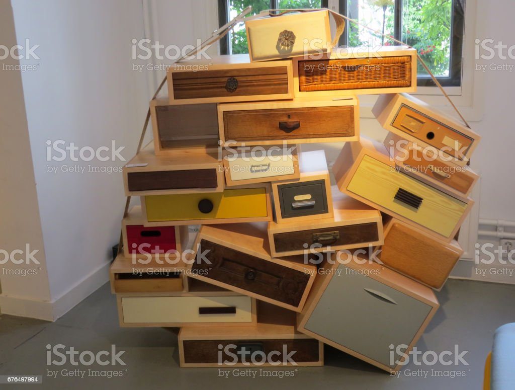 chaotic drawers stock photo