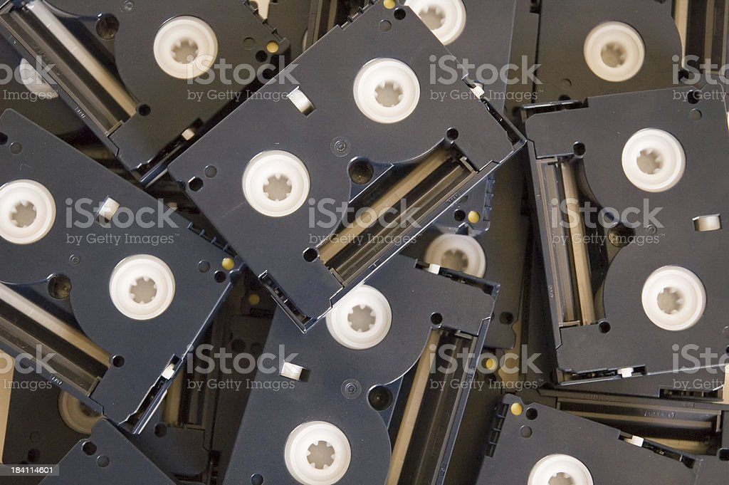 Chaotic DV tapes stock photo