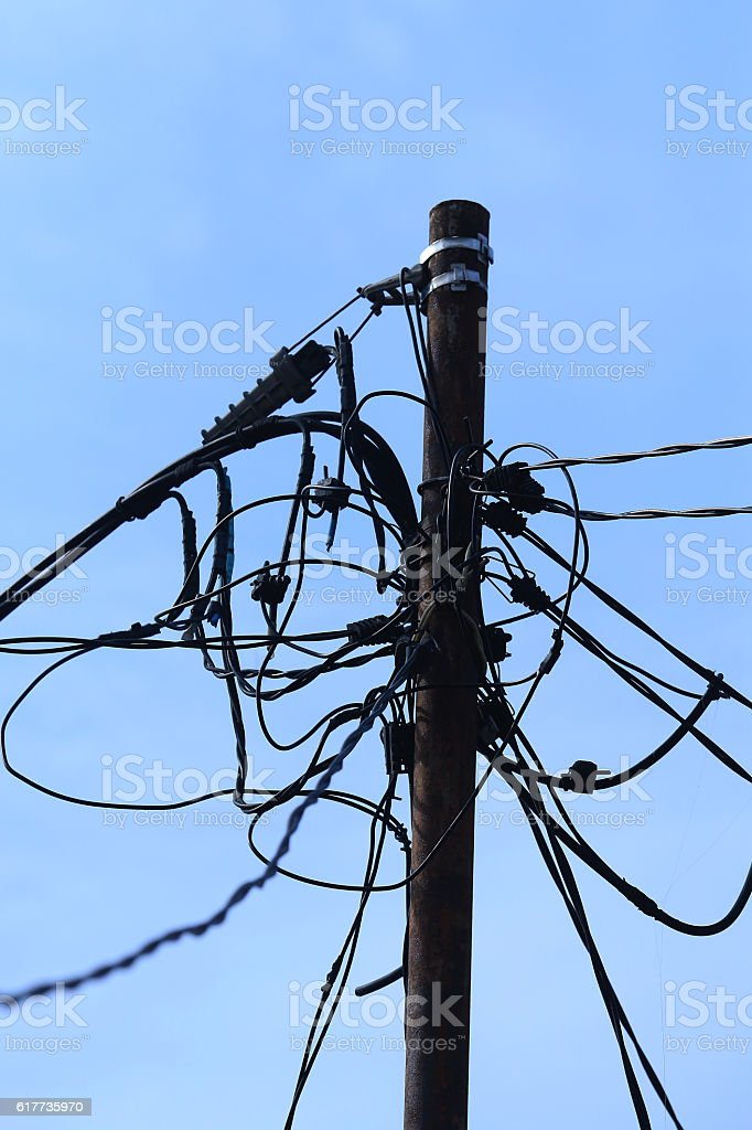 chaotic electrical wiring stock photo