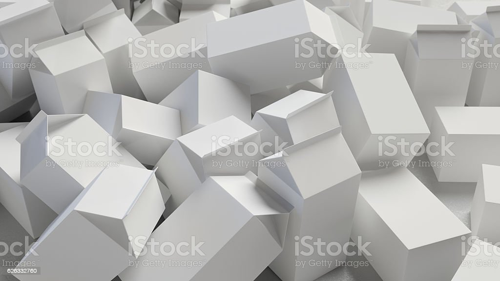 Chaotic Pile of Blank Cardboard Cartons stock photo