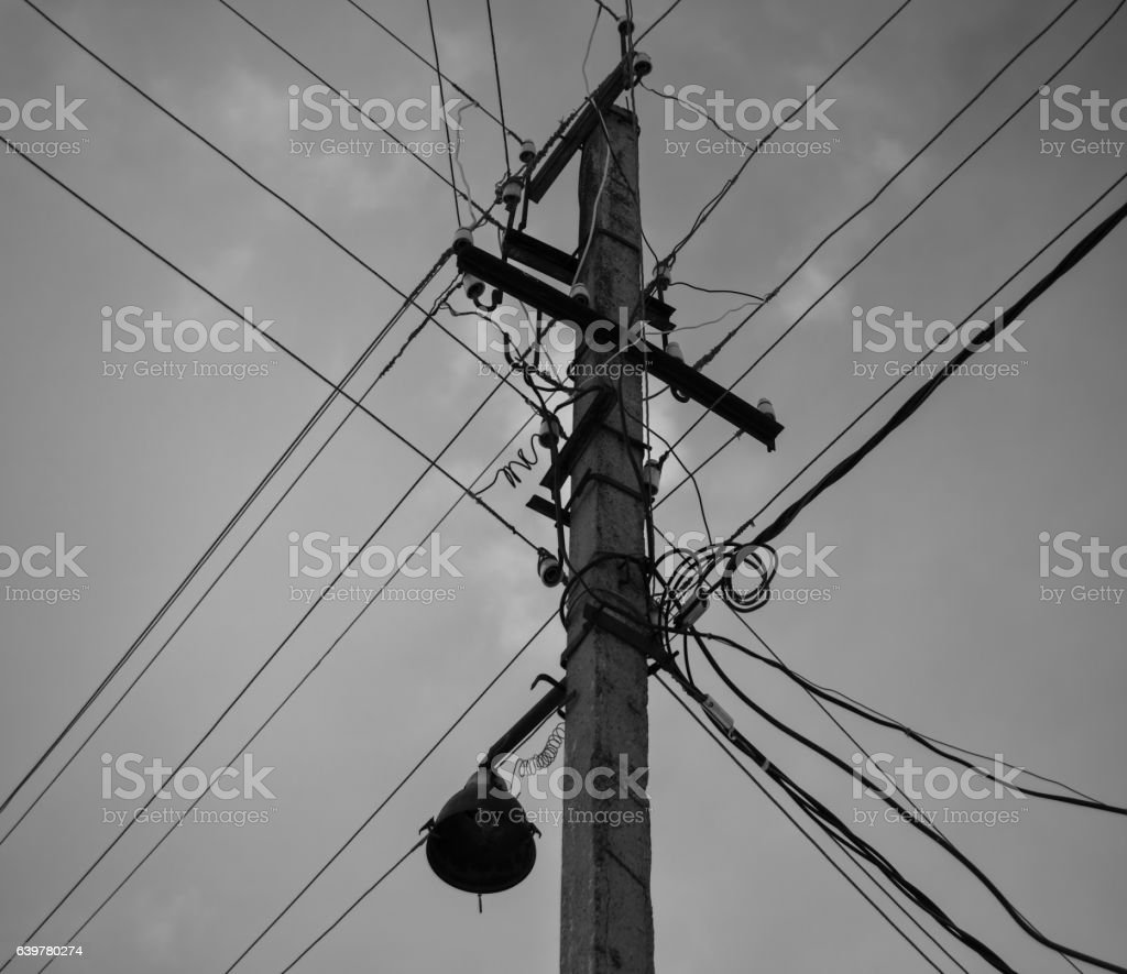 Chaotic power connections stock photo