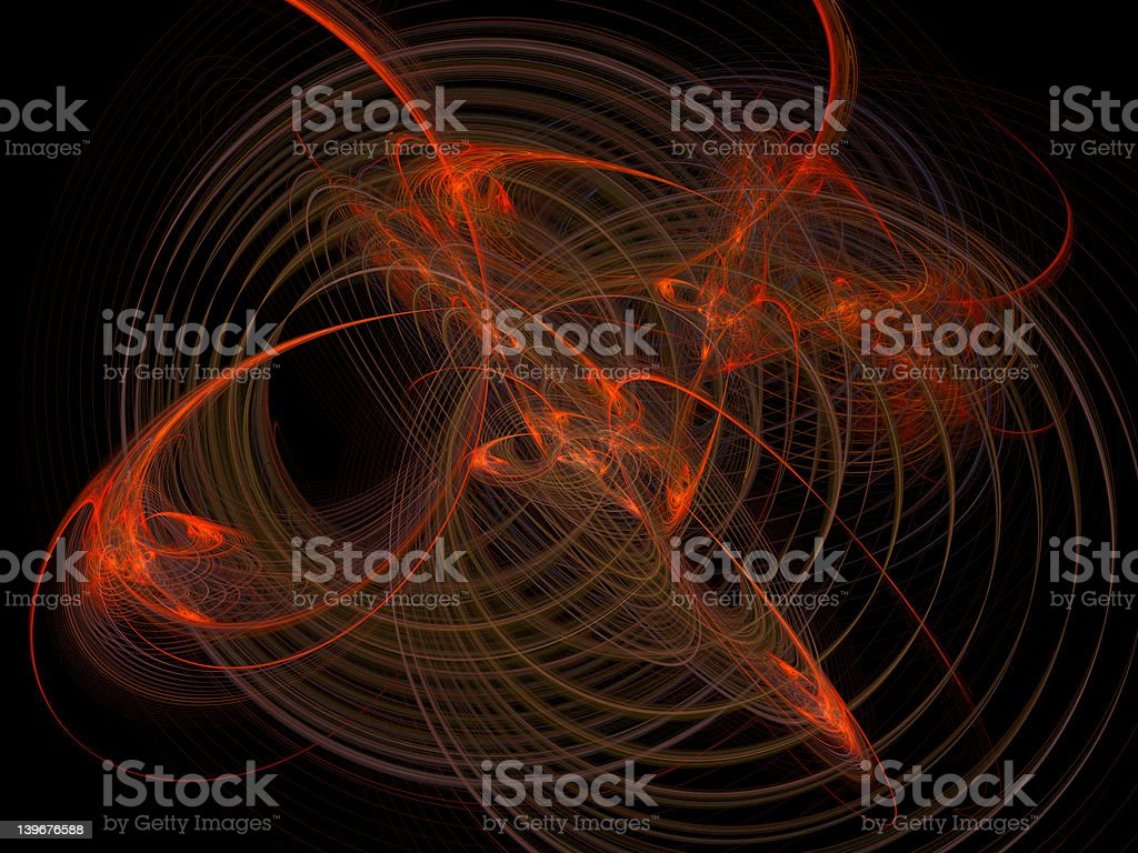 Chaotic red orbitals royalty-free stock photo