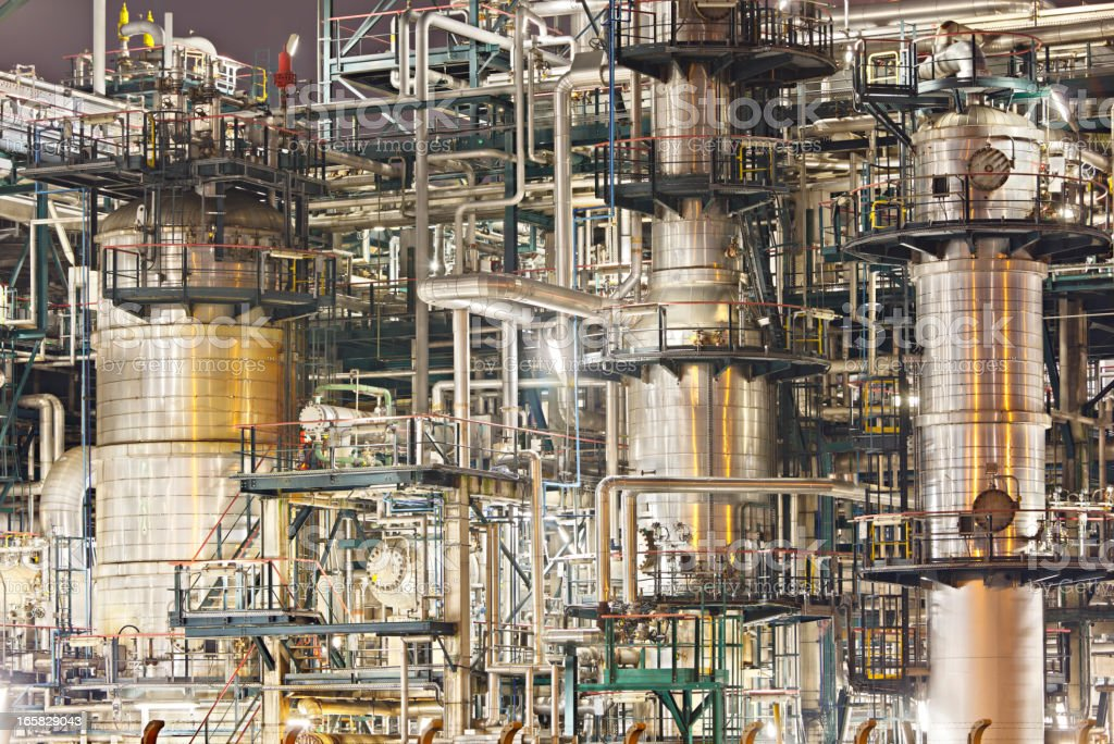 Chaotic Refinery Detail At Night stock photo
