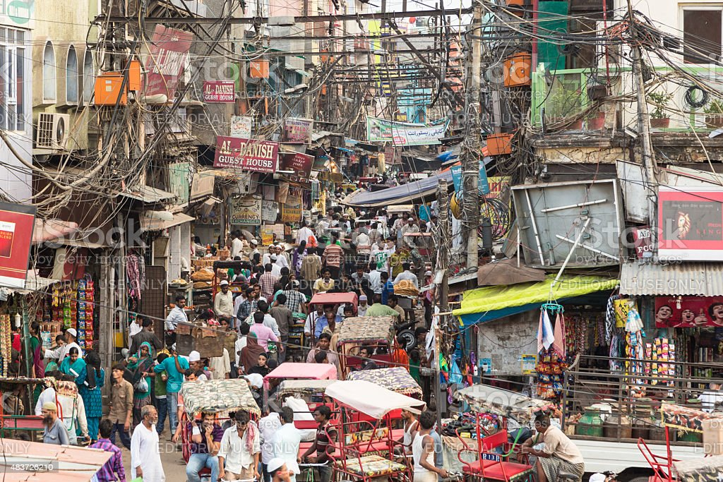 Chaotic streets of Old Delhi in India stock photo