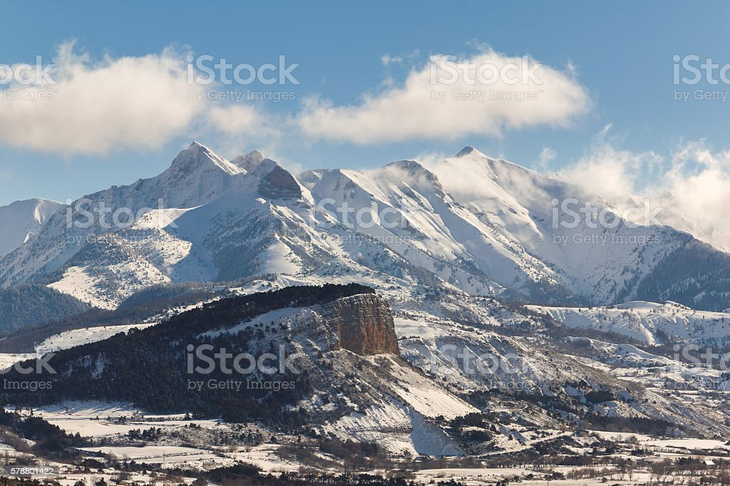 Chapeau de Napoleon after snowfall, Ecrin National Park, France stock photo
