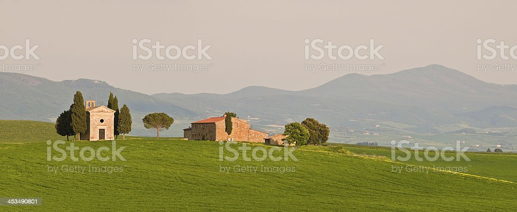 Chapel and farmhouse in Tuscany royalty-free stock photo