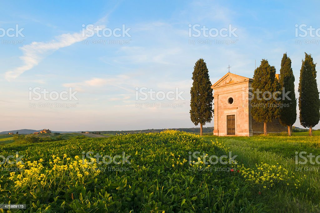 Chapel and farmhouse in Tuscany royalty-free stock photo
