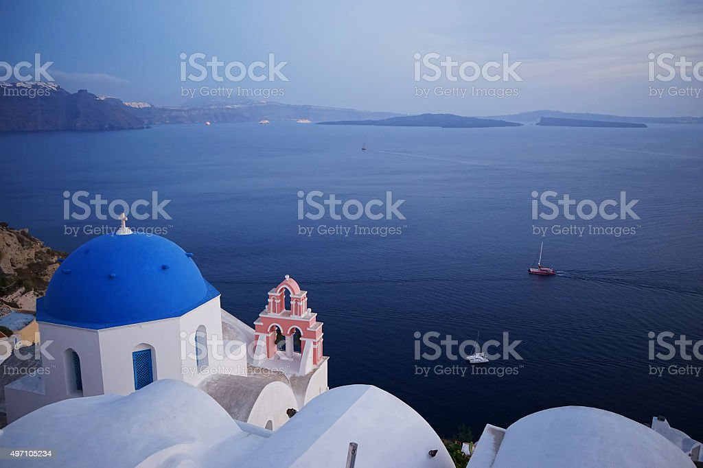 Chapel And Mediterranean Sea In The Island Of Mykonos stock photo