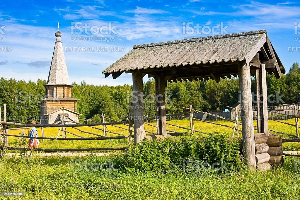 Chapel and well in Museum of wooden architecture, Semenkovo stock photo