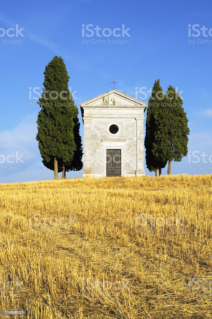 Chapel and wheat field royalty-free stock photo