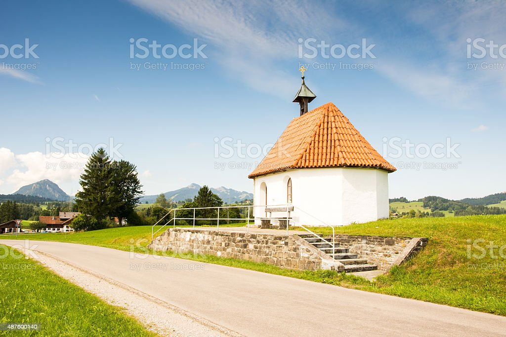 Chapel at a country road stock photo