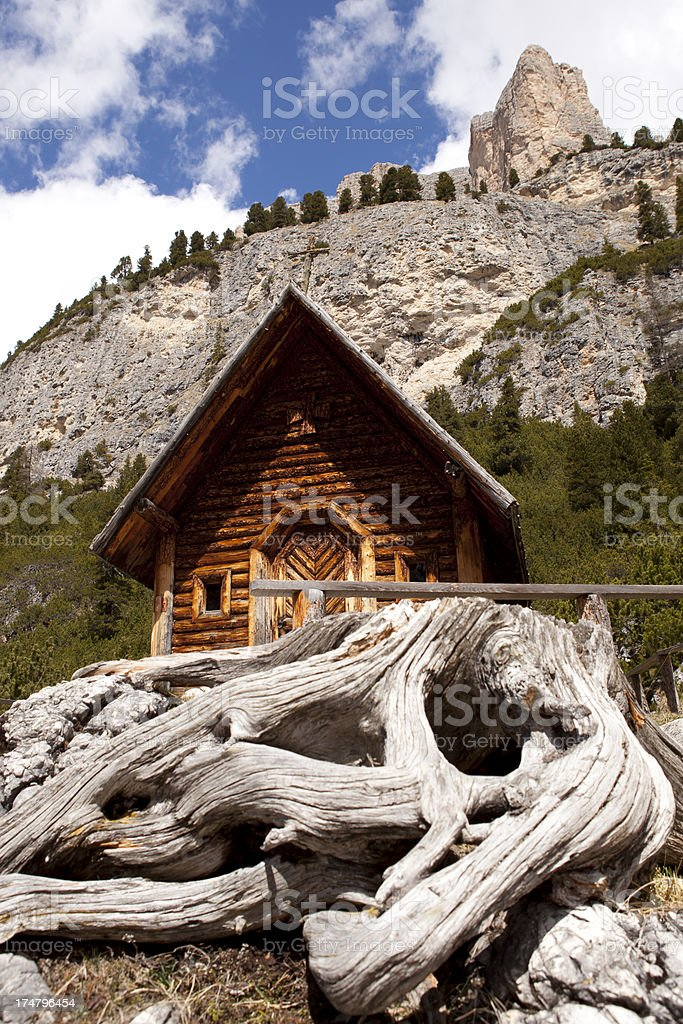 Chapel at Fanes-Sennes-Prags Nature Park, Dolomites. royalty-free stock photo
