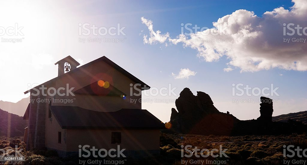 Chapel at Roques de Garcia on canary island Tenerife stock photo