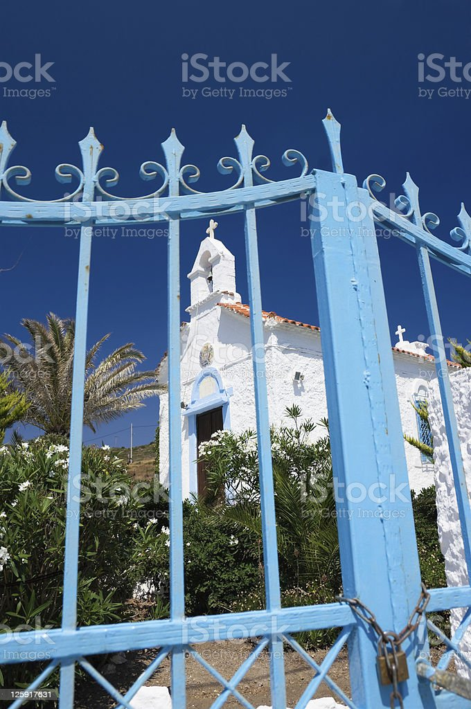 Chapel Behind Gate royalty-free stock photo
